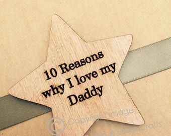 Personalised Dad Wood Star Fathers Day '10 Reasons Why I Love My Daddy' Gift Box, Grampy, Gramps, Husband, Family Gift