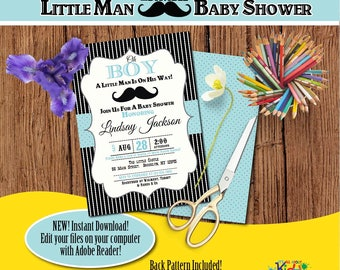 Little man Baby Shower Invitation-Edit Files yourself Instantly-Mustache Baby shower Invite-Little Gentleman-DIY Editable Invitation-B-103