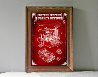 Enigma Machine Patent, Patent Print, Wall Decor, Spycraft, WWII, Spies, Secret Messages, Cipher Machine
