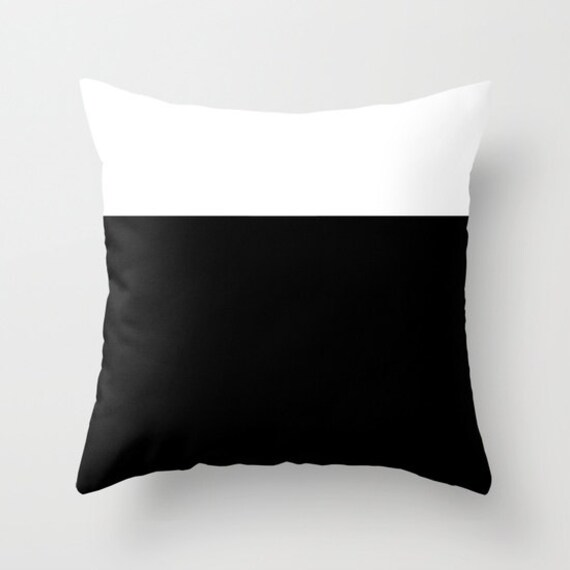 Colorblock Black White Throw Pillow, Decorative, Office, Black White Cushion, Graphic Design, Modern Decor, Color Block, Contemporary, Dorm