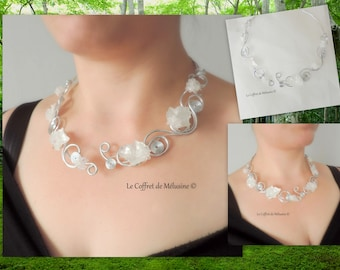 """Silver elven necklace with white leaves and flowers """"Ysméra"""""""