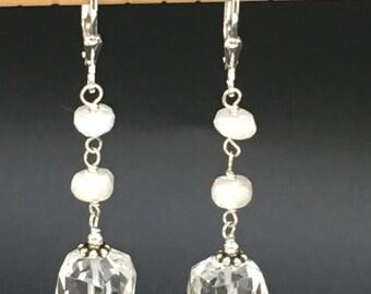 Quartz Earrings, Rock Crystal  Earrings, Sillimanite Earrings, Faceted Gemstone Earrings,  White gemstone earrings, earrings under 50