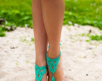 Mint Emerald Green Barefoot Sandals, Nude shoes, Foot jewelry, Victorian Lace, Yoga, Anklet, Bellydance, Steampunk, Beach Pool, Bridesmaid