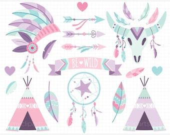 Clipart - Boho Elements (2) Pink and Purple / American Indian / Tribal Wedding Digital Clipart - Digital Clip Art (Instant Download)