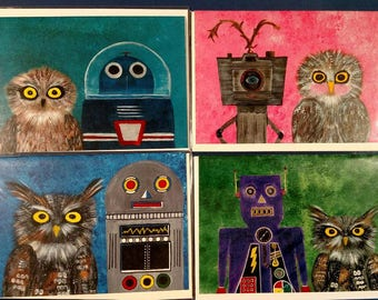 Owls & Robots - cog #1 - set of 4 blank notecards with envelopes