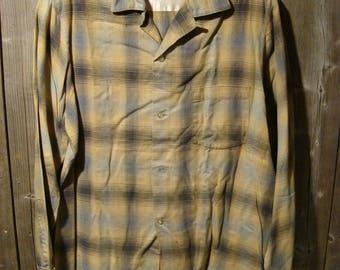 Vintage 1 Pocket Loop Collar Plaid Shirt with selvedge 1950's