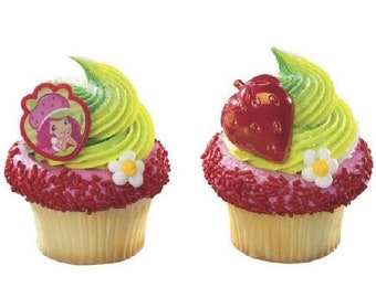 ON SALE Strawberry Shortcake Ring/ Strawberries Cupcake Toppers