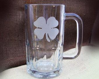 Custom Etched Shamrock Beer Mugs - Bar Glasses - Barware - Beer Gifts - Gifts for Men - Man Cave Gift - Etched Glassware