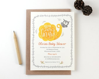 10 Personalized Invitations - Owl and Trumpet