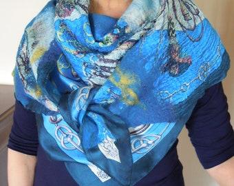 "SOLD. Made to order. Felted scarf, nano felted scarf, scarf ""Backus"", blue, cobalt, golden scarf."