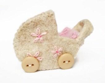 Tiny Felt Pram / Mini Baby Carriage / Miniature Baby Buggy for the Mini Ragdoll, Annamari