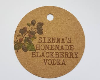 10x Personalised Homemade Blackberry vodka tags, handmade tags, bottle tags, homemade blackberry tags, wedding favours, homemade labels, gin