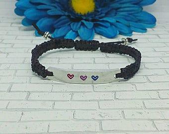 Bi Pride Bracelet, Inspirational Bracelet, Bi Pride, LGBT, LGBTQ, Gay Pride, Macrame Bracelet, Bar Bracelet, Friendship Bracelet, Stuffer