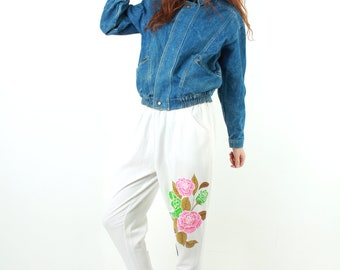 80s White Women Pants / Taper Pants / Loose Pants / High Waist Pants / Casual Pants / Flower Print Pants / Novelty Pants / Size M / S