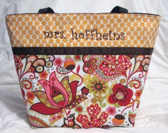 Personalized Diaper Bag . Mirabelle & Tangerine Dot . Regular size Personalized Tote Bag . knitting bag . girl diaper bag . monogrammed FREE