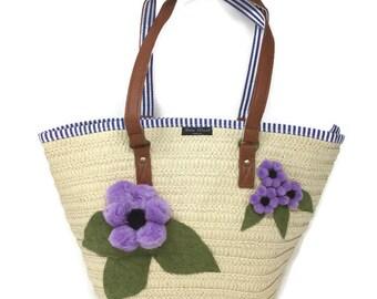 Cari Street handbags - Straw Handbag - Wicker Handbag - Raffia Bag - Summer Bag - Embellished Handbag - Bag With Flowers - Shopper Tote