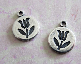2 Silver Tulips Disk Charms 3485