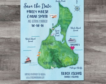 Block Island Map save the date - Block Island Map Save the Date - Watercolor Save the Date