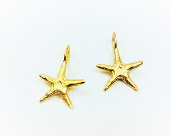 2 PC., 18k gold over 925 sterling silver  starfish charm , vermeil starfish charm 2 pc., matte  gold