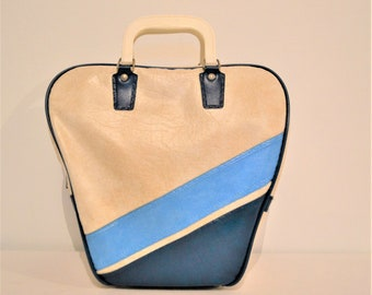 Vintage Bowling Bag Blue  Rockabilly Stripes