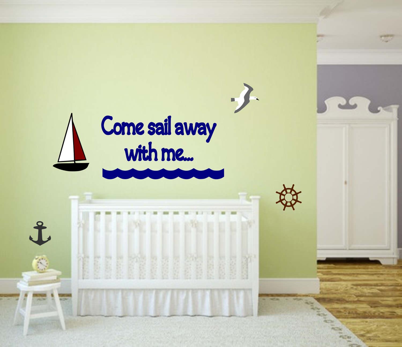 Nautical nursery decal, sailing wall art, nautical nursery, nursery ...