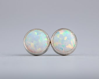 White Opal Stud Earrings - Opal Post Earrings in Sterling Silver - Small 6mm or 4mm Simulated White Opal Gemstone Studs - Gift for Her