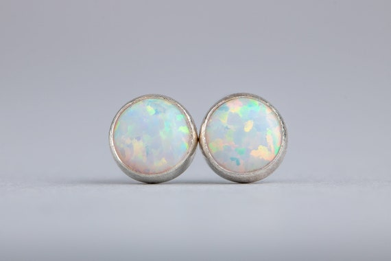 White Opal Gemstone Stud Earrings - Small 6mm or 4mm Size