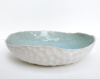 Blue Green and White Ceramic Bowl / Modern Decorative Bowl / Nature Inspired Pottery / The Lagoon Bowl / READY TO SHIP