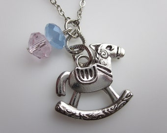 Rocking Horse Necklace, Children's Toy Charm, Mother's Day / Baby Shower Gift