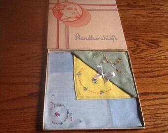 Vintage Boxed Handkerchief