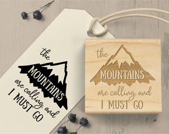 Mountains are Calling Quote Stamp, Mountain Stamp, John Muir Quote, Outdoor Stamp, Travel Stamp, Backpacking Stamp, Nature, Hiking Stamp 159