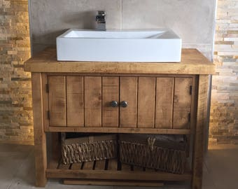 Rustic Chunky Solid Wood Bathroom Washstand Vanity Sink Unit*Not Included    Sinks/taps/baskets