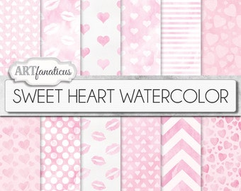 """Digital Love Papers """"SWEET HEART WATERCOLOR"""" heart patterns, watercolor texture, pink backgrounds, sweet kisses, Valentines Day, pink hearts"""
