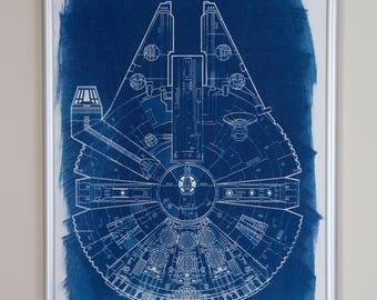 STAR WARS Millennium Falcon blueprint A4 CYANOTYPE Jedi Lord Vader Skywalker R2D2 Death Star Galaxy Empire Han Solo Chewie