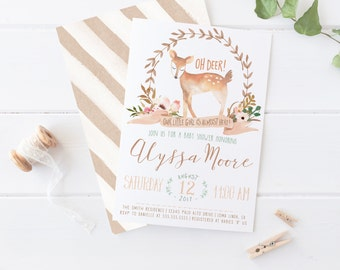 Deer Baby Shower Invitation, Woodland Themed, Watercolor Flowers, Printable Invites [466]