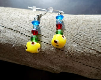 Glass Lampwork Bead Earrings | Blue Yellow Green and Red Dangle with Accents