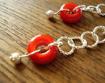 Contemporary Red Earring Long Dangle Earring Lampwork Sterling Silver Earring Red Earring Twisted Silver Jump Ring Funky Jewelry