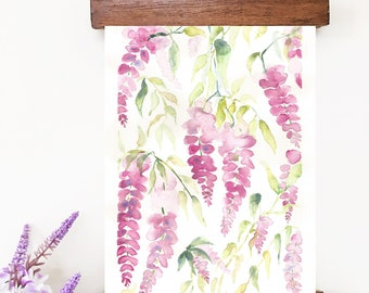 Original Watercolor Flowers Painting, Watercolor florals, Abstract Flowers, Watercolor Wisteria, Floral Decor,  Purple flowers, Flowers art