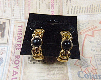 Vintage Gold and Black Pierced Hoop Earrings - V-EAR-037 - Gold Hoop Earrings - Black Hoop Earrings