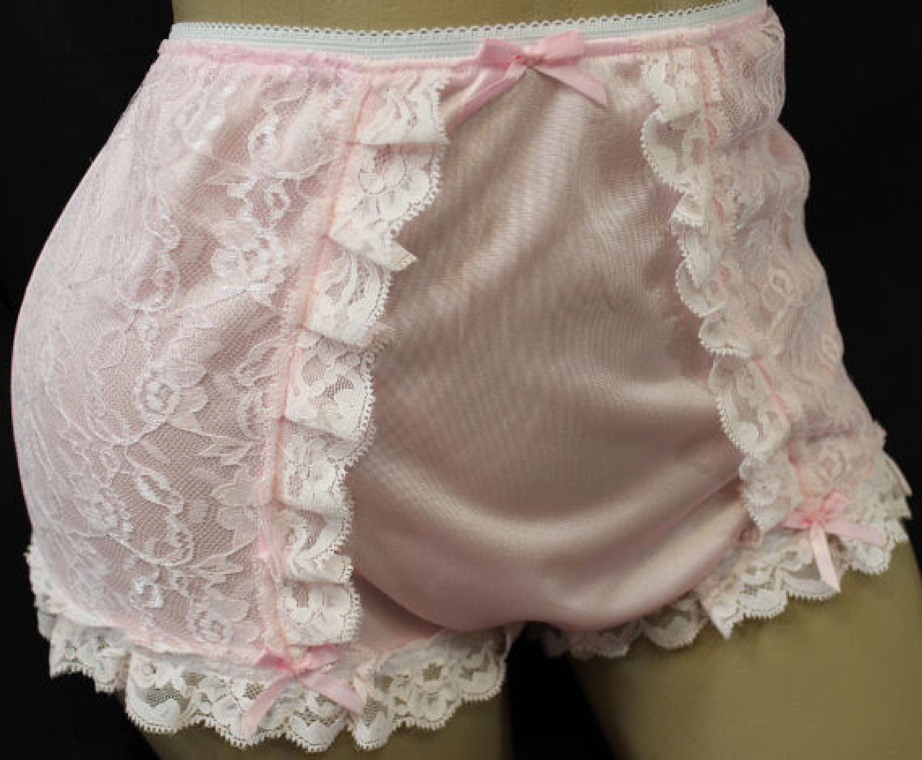 Vintage Style Adult Sissy Tricot  Lace Full Cover Granny Panties - Cross Dresser -8657