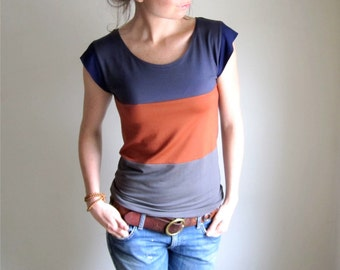 Rust Stripe Color Block Tee, Modal Blouse, Women's Top, Scoop Neck Tank, Neutral Tshirt, Yoga Top, Made to Order
