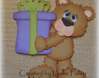 A Present Bear Premade Scrapbooking Embellishment Paper Piecing
