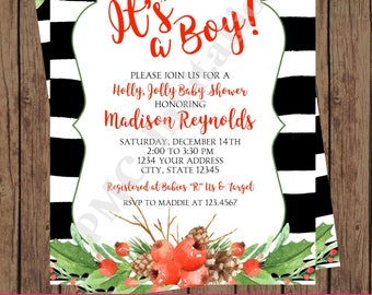 Custom Printed Watercolor, Holly, Holiday, Christmas Baby Shower Invitations - boy, girl, gender neutral - 1.00 each with envelope