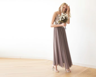 Tulle maxi taupe bridesmaids skirt , Maxi tulle taupe skirt 3005