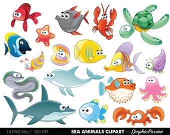 Sea Animal Clipart Under the Sea Baby Sea Creatures Clip Art Animal Clipart Ocean clipart Sea creatures graphics Sea animals vector
