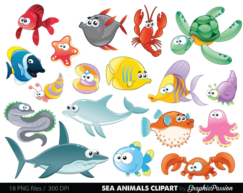 sea animal clipart under the sea baby sea creatures clip art rh etsy com cute sea creature clipart under the sea creature clipart