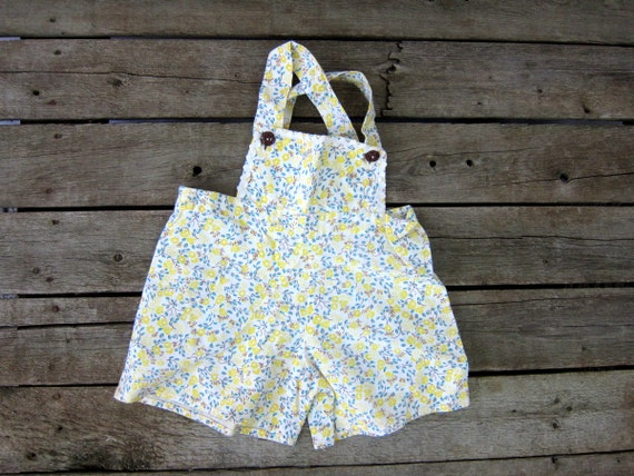 Vintage Children's Swimming Suit One Piece Cotton Bibs Play Suit Playsuit Yellow Flower Print 1950s Handmade floral Swimsuit Toddlers Girls