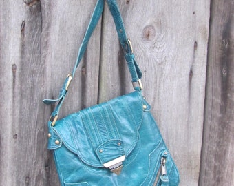 Vintage Bag; Real Leather Bag; Teal Green Shoulder Bag with Brass Hardware; Vintage Bag; Vintage Purse; Long Strap Handbag / Crossbody Bag