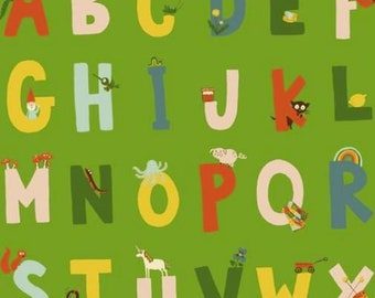 Windham - Kinder by Heather Ross - Alphabet - Green