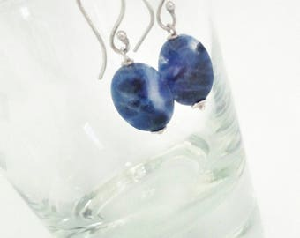 Blue sodalite pendant earrings